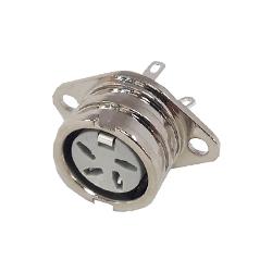 593-0400 - 4 Pin Ring Lock DIN Connector Nickel Shell