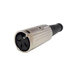 600-0300 - 3 Pin Din Line Socket Nickel Shell