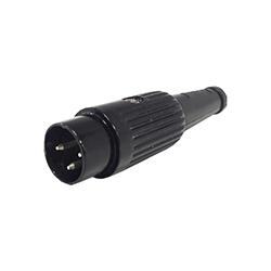 611-0300 - 3 Pin Standard DIN Plug Black Shell
