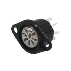 631-0800 - 8 Pin Flanged Panel Socket Black Shell