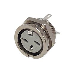 650-0300 - 3 Pin Circular Panel Socket Nickel Shell
