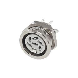 650-0600 - 6 Pin Circular Panel Socket Nickel Shell