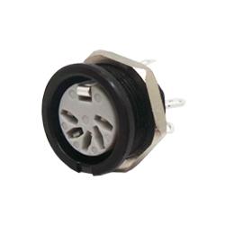 651-0500 - 5 Pin 45° Circular Panel Socket Black Shell