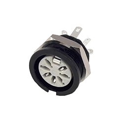 651-0700 - 7 Pin Circular Panel Socket Black Shell