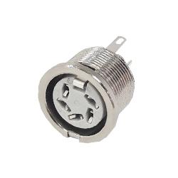 690-0500 - 5 Pin 45° Circular PCB Mounting Slot Nickel Shell
