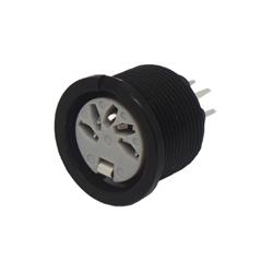 691-0500 - 5 Pin 45° Circular PCB Mounting Slot Black Shell