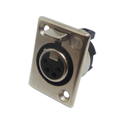 702-0400 - 4 Pin Female Panel Mount Nickel Shell Cable Socket