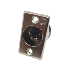 703-0400 - 4 Pin Male Panel Mount Nickel Shell Panel Plug
