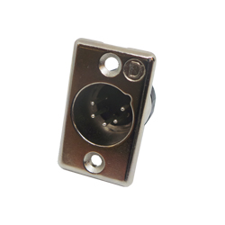 703-0500 - 5 Pin Male Panel Mount Nickel Shell Panel Plug