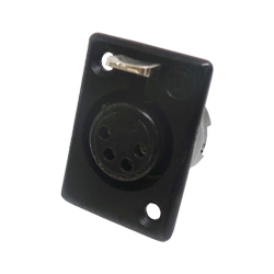 710-0400 - 4 Pin Female Panel Mount Black Shell Cable Socket