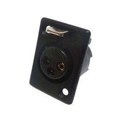 714-0300 - 3 Pin Female Panel Mount Black Shell Panel Socket