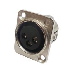 716-0301 - 3 Pin Female Universal Non-Latching Panel Mount Nickel Shell Panel Socket