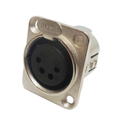 716-0400 - 4 Pin Female Universal Panel Mount Nickel Shell Panel Socket