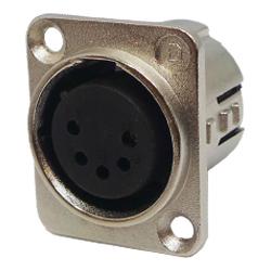 716-0501 - 5 Pin Female Universal Non-Latching Panel Mount Nickel Shell Panel Socket