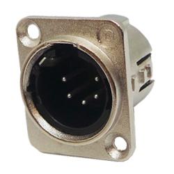 717-0501 - 5 Pin Male Universal Non-Latching Panel Mount Nickel Panel Plug