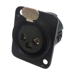 718-0300 - 3 Pin Female Universal Panel Mount Black Shell Panel Socket