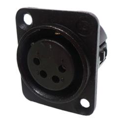 718-0401 - 4 Pin Female Universal Non-Latching Panel Mount Black Shell Panel Socket