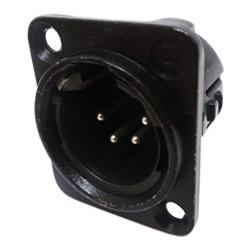 719-0401 - 4 Pin Male Universal Non-Latching Panel Mount Nickel Shell Panel Plug
