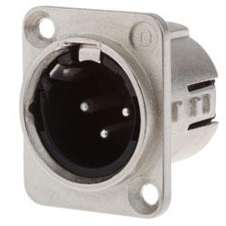 723-0300 - 3 Pin Male Universal Panel Mount Nickel Shell Panel Plug