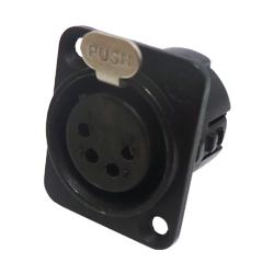 724-0400 - 4 Pin Female Universal Panel Mount Black Shell Panel Socket