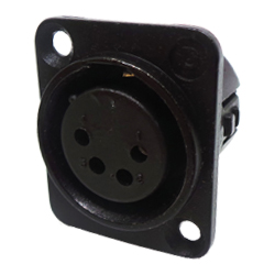 724-0401 - 4 Pin Female Universal Non-Latching Panel Mount Black Shell Panel Socket