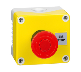 1DE.01.01AG - Control Stations Enclosure with a Emergency Stop EN418 fail safe, twist to release