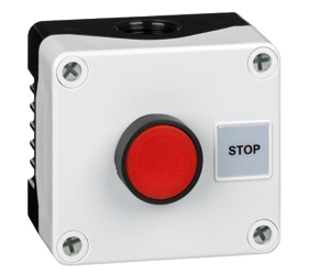 1DE.01.04AB - Control Stations Enclosure with a Single Stop Push Button, Red Actuator