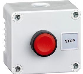 1DE.01.04AG - Control Stations Enclosure with a Single Stop Push Button, Red Actuator