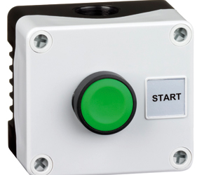 1DE.01.06AB - Control Stations Enclosure with a Single Start Push Button, Green Actuator