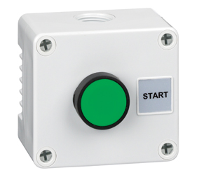 1DE.01.06AG - Control Stations Enclosure with a Single Start Push Button, Green Actuator