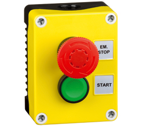 1DE.02.01AB - Control Stations Enclosure with a Emergency Stop EN418 Fail safe, twist to release, Single Start Push Button, Green Actuator