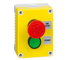 1DE.02.01AG - Control Stations Enclosure with a Emergency Stop EN418 Fail safe, twist to release, Single Start Push Button, Green Actuator