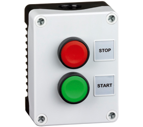1DE.02.02AB - Control Stations Enclosure with a Double Push Button - Start Push Button, Green Actuator and Stop Push Button, Red Actuator