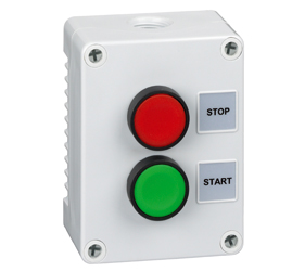 1DE.02.02AG - Control Stations Enclosure with a Double Push Button - Start Push Button, Green Actuator and Stop Push Button, Red Actuator