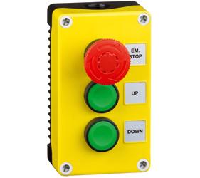 1DE.03.01AB - Control Stations Enclosure with a Emergency Stop EN418 Fail Safe, Twist to Release Double Up/Bown Push Buttos, Green Actuators