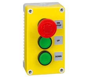 1DE.03.01AG - Control Stations Enclosure with a Emergency Stop EN418 Fail Safe, Twist to Release Double Up/Bown Push Buttos, Green Actuators