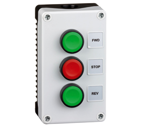 1DE.03.02AB - Control Stations Enclosure with a Double Push Button - Fwd/Rev Push Buttons, Green Actuators and Stop Push Button, Red Actuator