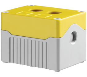 DE02D-A-YG-2 - Control Station Enclosure with Two Holes and a Deep Base