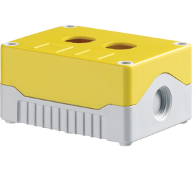 DE02S-A-YG-2 - Control Station Enclosure with Two Holes and a Standard Base