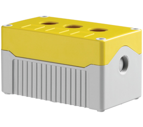 DE03D-A-YG-3 - Control Station Enclosure with Three Holes and a Deep Base