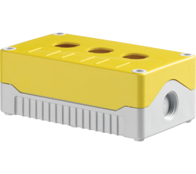 DE03S-A-YG-3 - Control Station Enclosure with Three Holes and a Standard Base