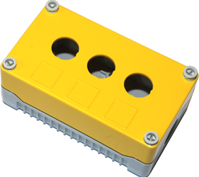 DE03S-P-YG-3 - Control Station Enclosure with Three Holes and a Standard Base