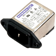 RIX0642P - IEC Inlet Filter, PCB Mounted, 6 Amp, Solder Connection